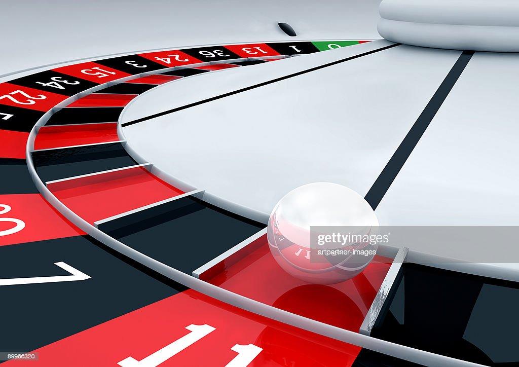 White Roulette Closeup, Ball in the Eleven