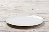 White Round Plate on white wooden table background. Perspective view.