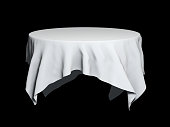White round tablecloth mockup isolated on black. 3D illustration