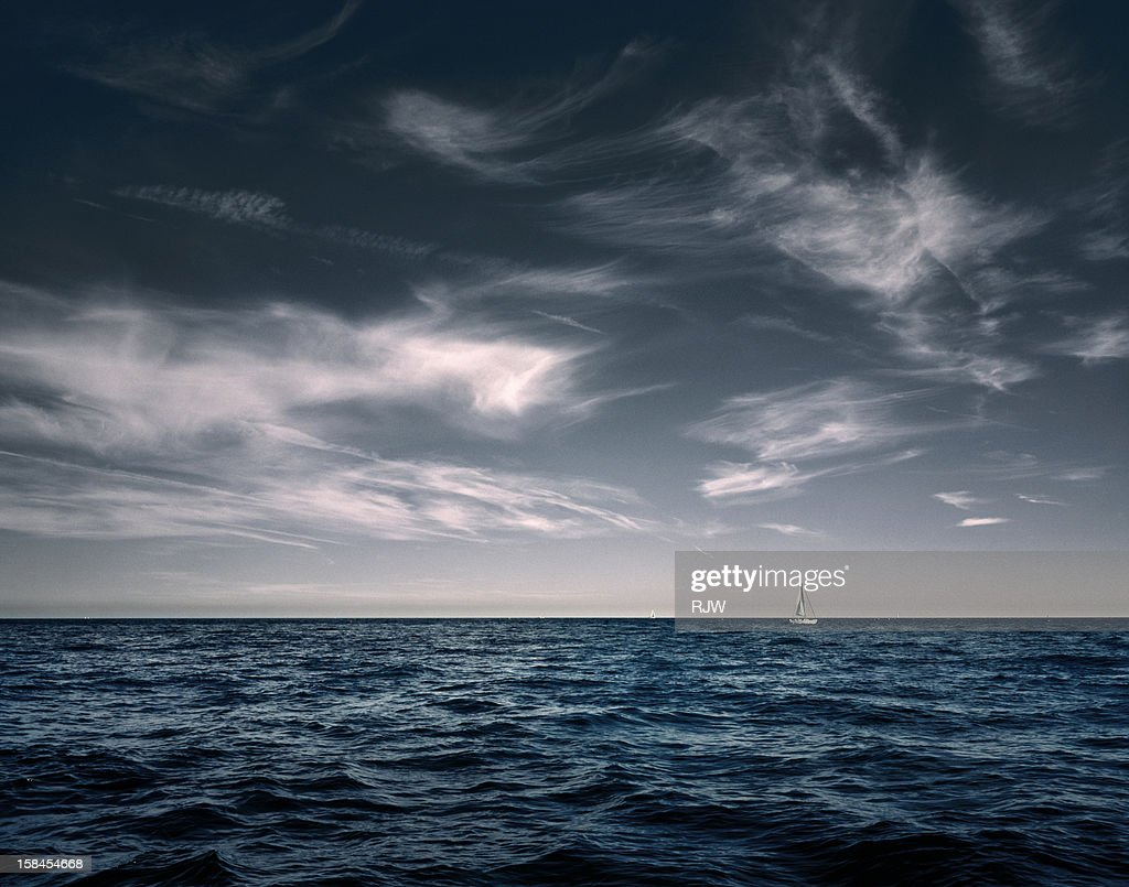 White Sail Boat on Sea : Stock Photo