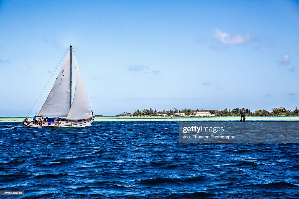 A white sailboat with wind blowing through the sails floats in the teal blue clear waters of Kaneohe Bay with the beautiful lush shoreline as a...