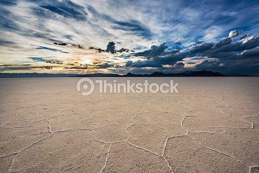 White Salt Flats with sunset near Salt Lake City, Utah : Stock Photo