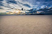 White Salt Flats with dramatic sunset near Salt Lake City, Utah