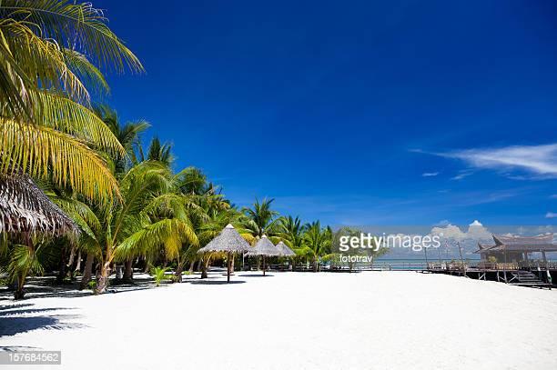 Plage de sable blanc Mabul, Sipadan, à Bornéo, en Malaisie