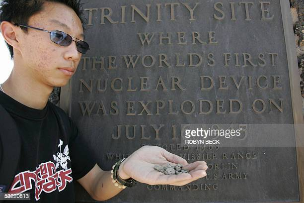 TO GO WITH AFP STORY 'WWIIHISTORYJAPANUSNUCLEARBOMBSTESTHISTORY' BY MARC LAVINE Student Allen Yu from Diamond Bar CA shows examples he found of...