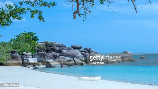 White sandy beach in Belitung Island, Indonesia