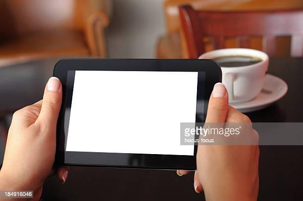ホワイトスクリーンタブレット pc 、コーヒーショップ