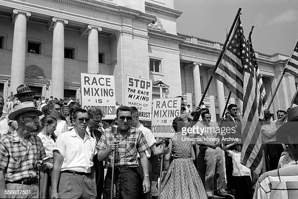 White segregationist demonstrators protesting at the admission of the Little Rock Nine to Central High School 1959 The Little Rock Nine were a group...