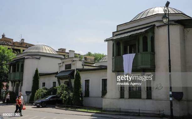 A white sheet is seen on a mosque during International White Ribbon Day marked in memory of the innocent nonSerb civilians killed in the war on the...