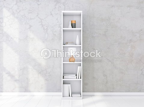 White Shelving Unit With Books And Decor In Interior Concrete Wall Bookshelf Mockup