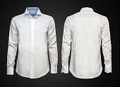 Luxury white shirt on dark background. Businessman clothes