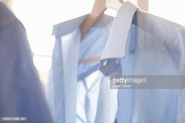 White shirt on hanger, close-up