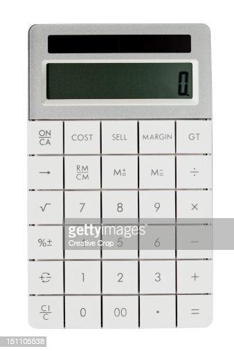 White solar powered calculator : Stock Photo