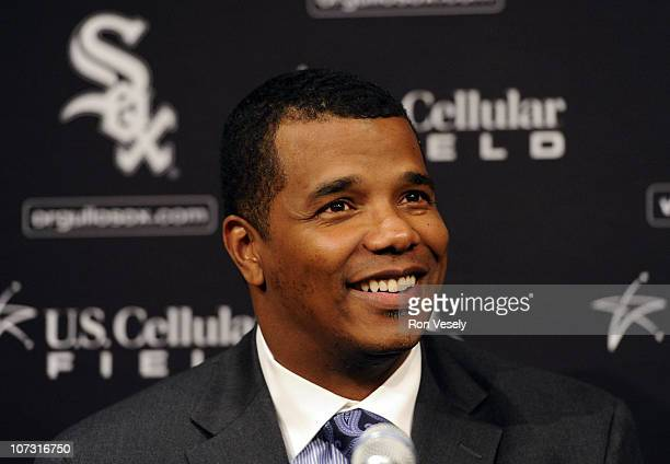 White Sox general manager Ken Williams talks to the media during a press conference announcing the signing of free agent Adam Dunn on December 3 2010...