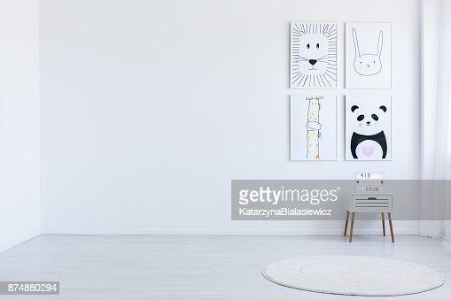White spacious autistic kid's room : Stock Photo