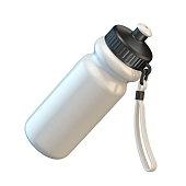 White sport plastic water bottle angled 3D render illustration isolated on white background