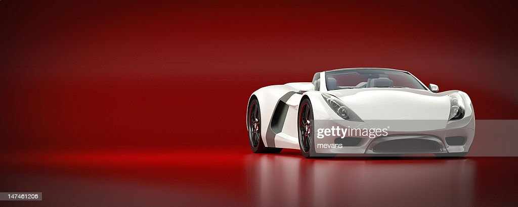 White Sports Car on a Red Background : Stock Photo