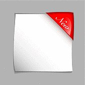 White square paper element with red corner tag and shadow