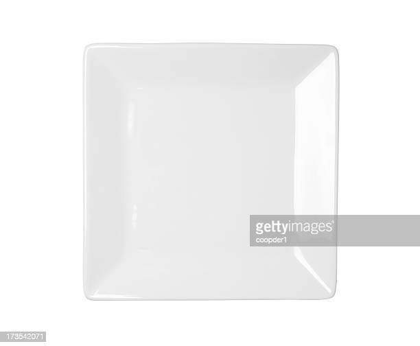 White square plate on a white background