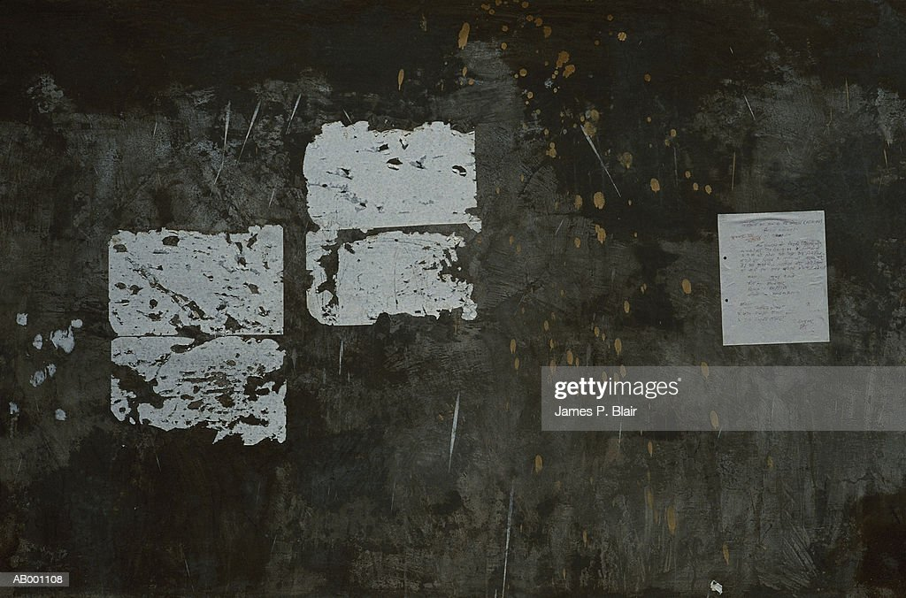 White Squares of Paper on Wall : Stock Photo