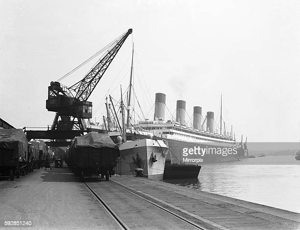 White Star Line liner RMS Olympic sistership of the ill fated Titanic seen here in Southampton docks for her yearly refit circa November 1932