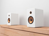 White stereo Speakers on shelf. 3d rendering