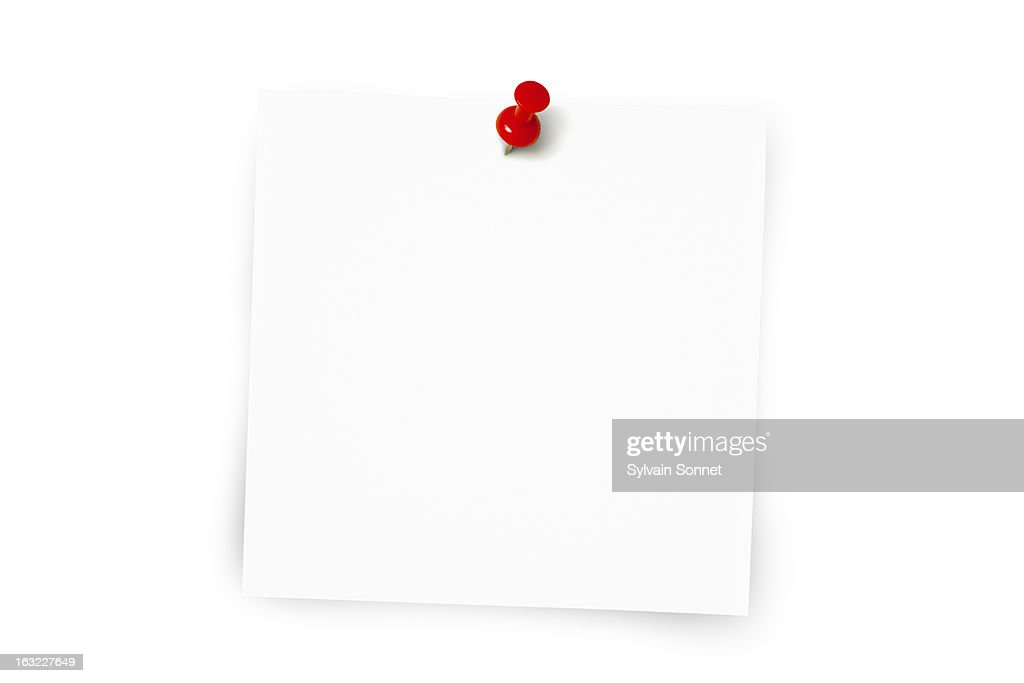 White sticky memo note and map pin