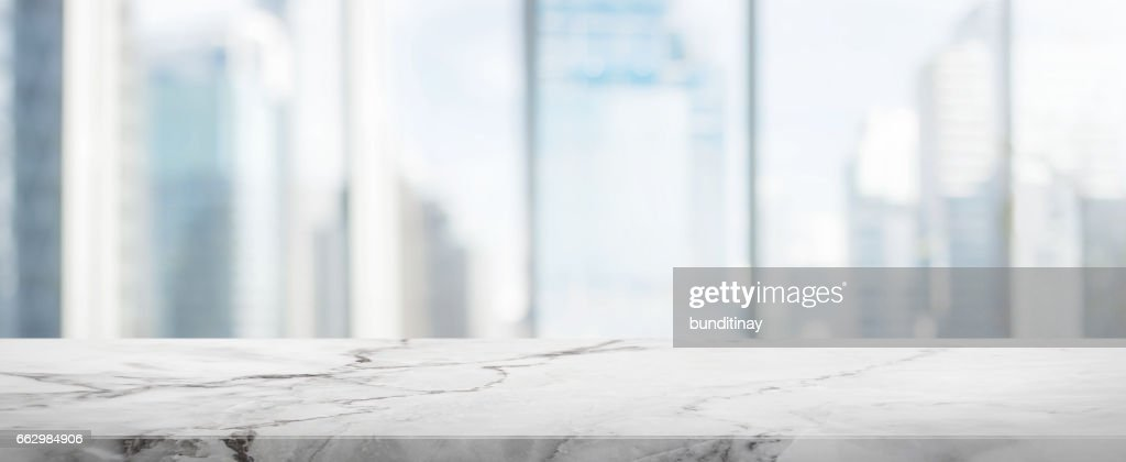 Superieur White Stone Table Top And Blur Glass Window Wall Building Banner Background  : Stock Photo