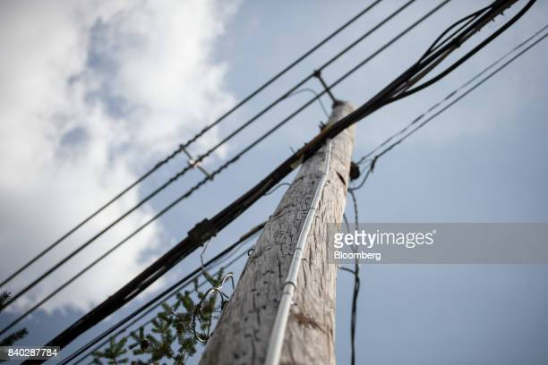 A white strip of 1inch conduit pipe denoting an eruv is seen on a utility pole across from Silver Creek Park in Mahwah New Jersey US on Sunday Aug 27...