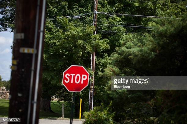 White strips of 1inch conduit pipe denoting an eruv are seen on utility poles at the corner of Airmont Road and Airmount Road in Mahwah New Jersey US...