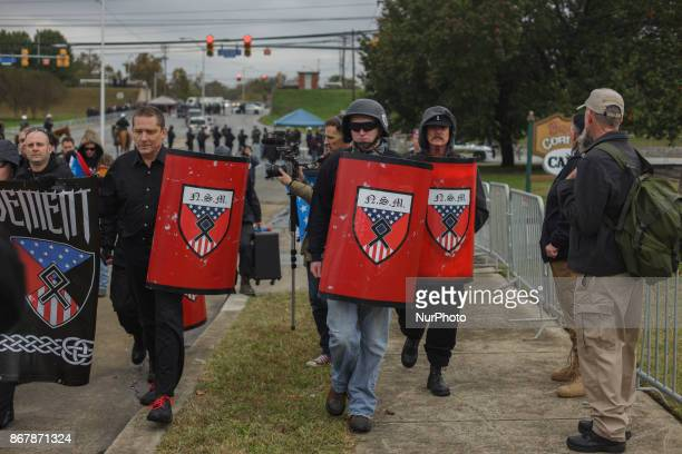 White Supremacists were allowed to bring in plastic shields into the protest area for unknown reasons in Shelbyville Tennessee Illinois US on 28...