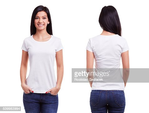 White t shirt on a young woman template : Stock Photo