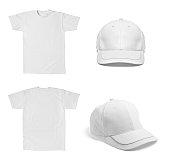 collection of various  white t shirt and  baseball cap template on white background. each one is shot separately