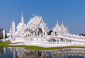 White Temple by still lake, Chiang Rai, Mueang Chiang Rai, Thailand