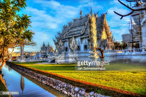 White Temple, Wat Rong Khun in Chiang Rai, Thailand : Stock Photo