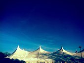White Tent Against Clear Blue Sky