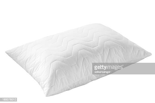 White textured pillow with wavy pattern on white background