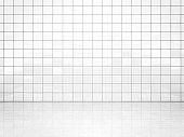 White ceramic tile wall and concrete floor. Bath or toilet room background. 3D illustration