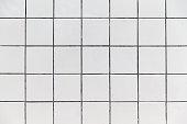 White Tiles wall  with black grid line background texture.