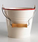 White tin bucket, close up