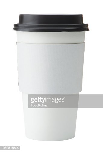 White To Go Coffee Cup with Black Lid : Stock Photo