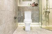 White toilet bowl in modern bathroom at hotel. Interior of toilet in bathroom.