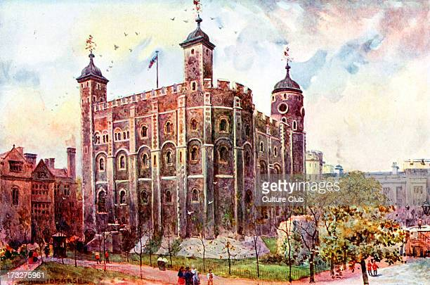 White TowerTower of London UK late 19th century print from painting by HETidmarsh Tower keep