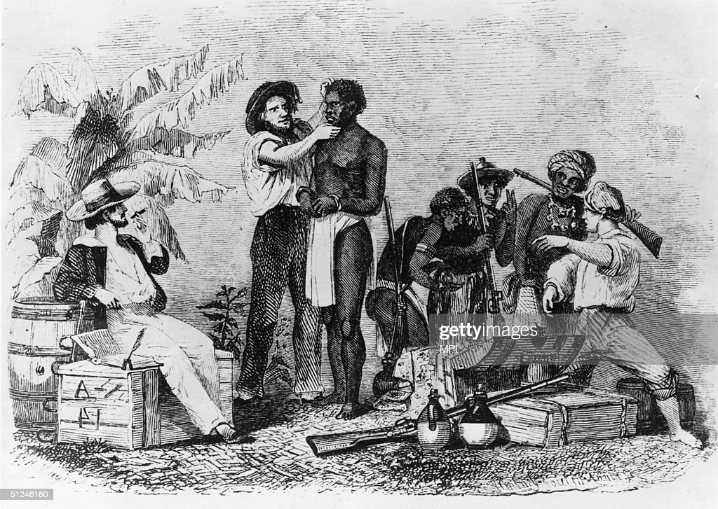 White traders inspect African slaves during a sale, circa 1850. Wood engraving by Whitney, Jocelyn & Annin from 'Captain Canot; or, Twenty years of an African slaver', pub 1854.