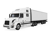 White Trailer Truck isolated on white background. 3D render
