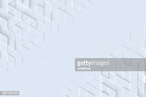White triangle tiles seamless pattern, 3d rendering background. : Foto de stock