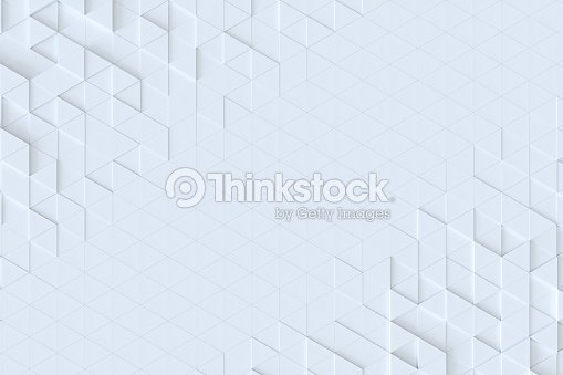 White triangle tiles seamless pattern, 3d rendering background. : Stock Photo