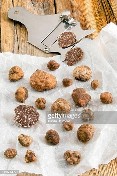 White Truffles (Tuber magnatum) and truffle slicer