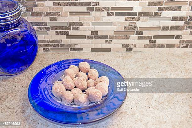 White Truffles on Blue Dish