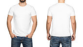 White t-shirt on a young man isolated white background, front and back